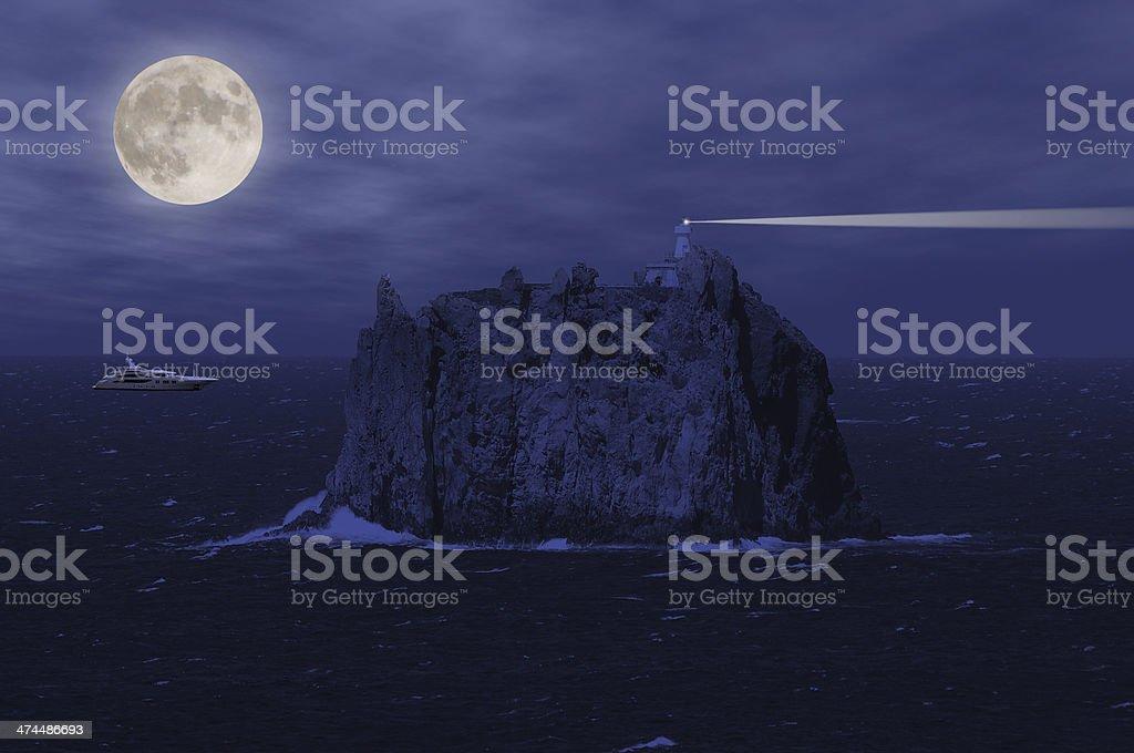 Stromboli island and yacht. royalty-free stock photo