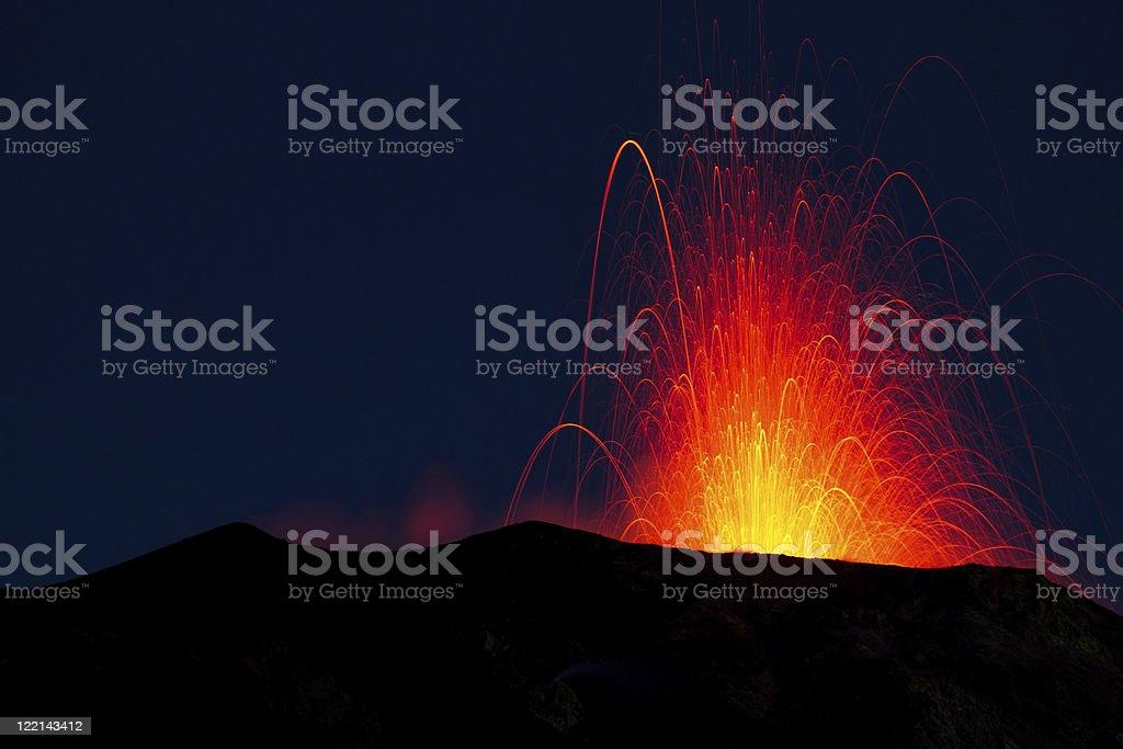 stromboli volcano eruption stock photo