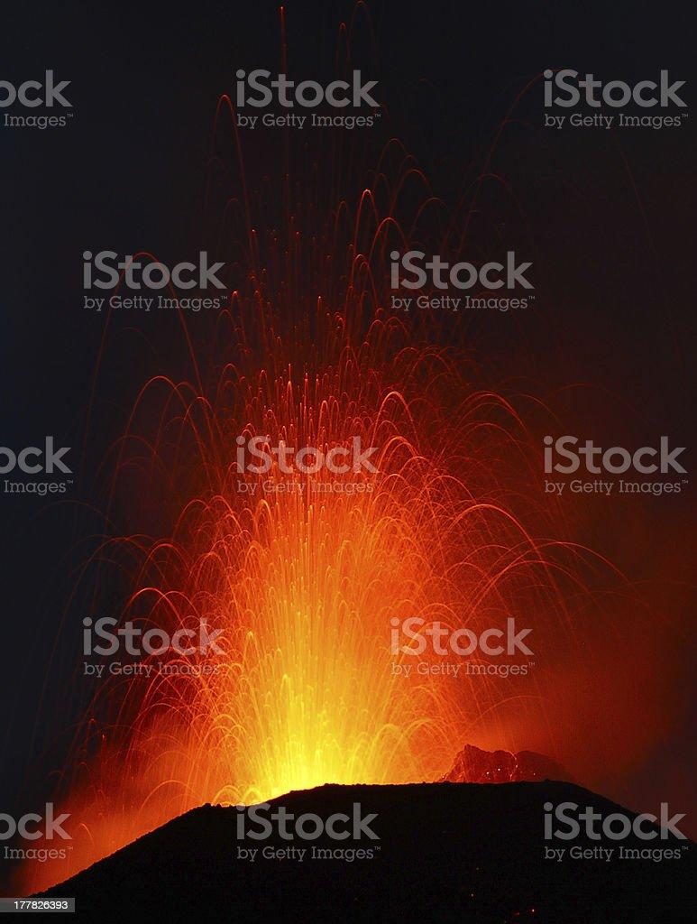 Strombolian eruption stock photo
