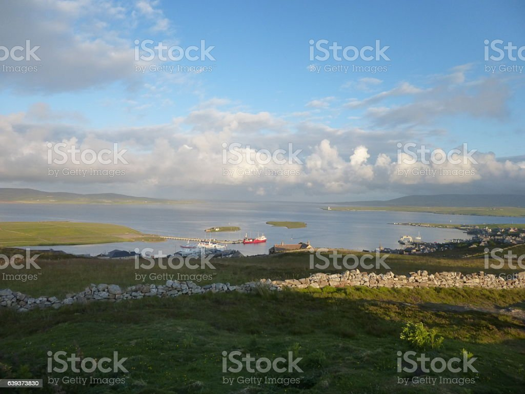 Stromness Orkney from Brinkies Brae stock photo