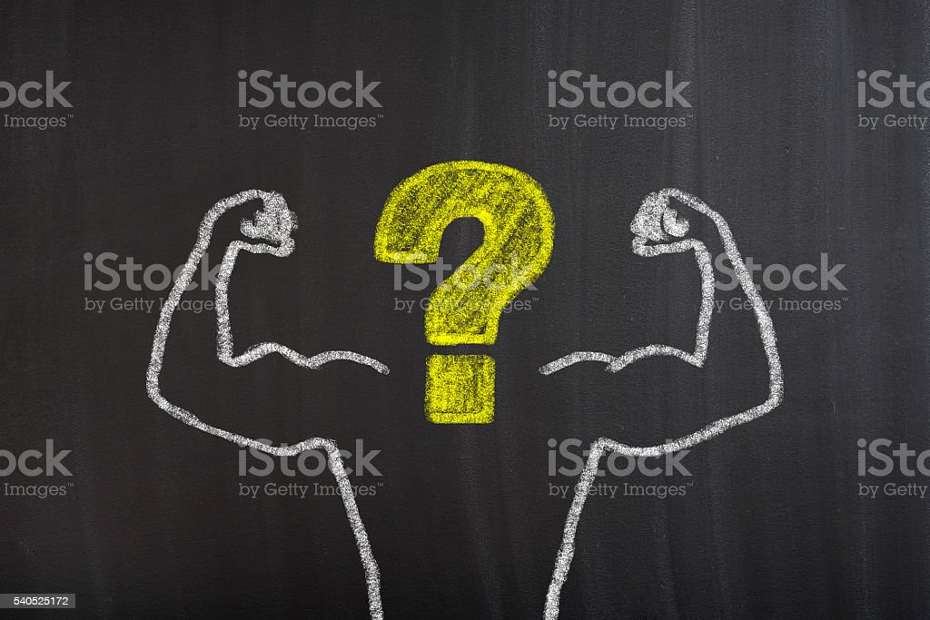 Strong Arms chalk drawing with question mark stock photo