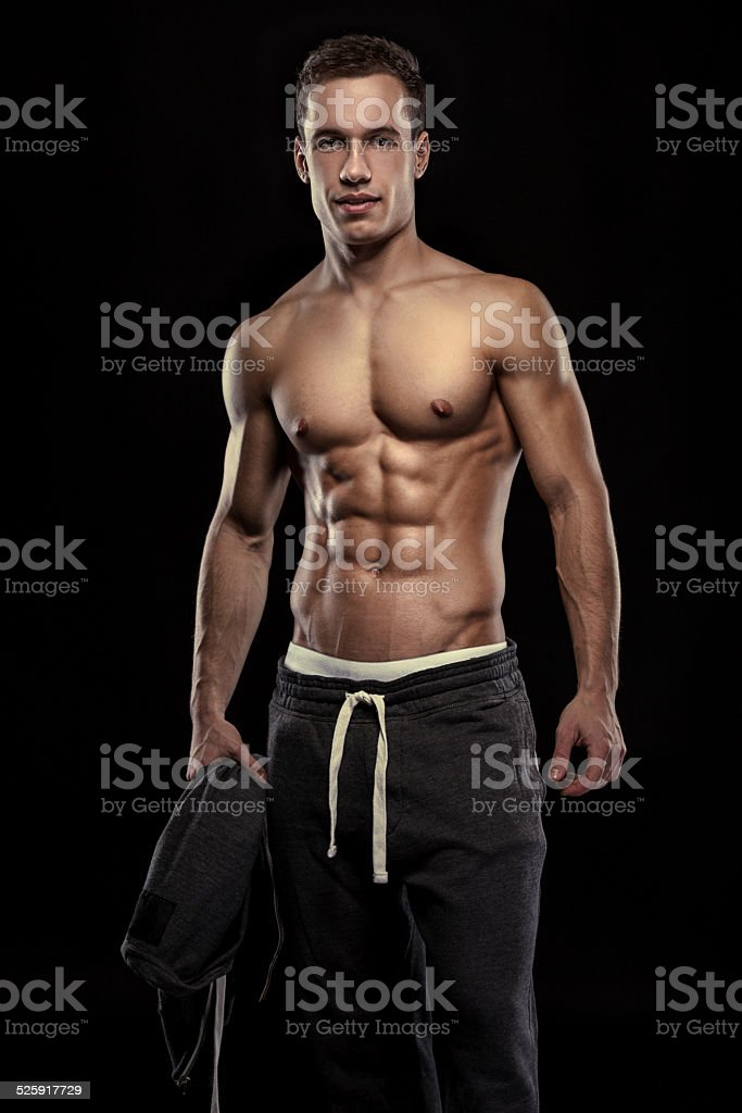 Strong Athletic Man Fitness Model Torso showing muscular body stock photo