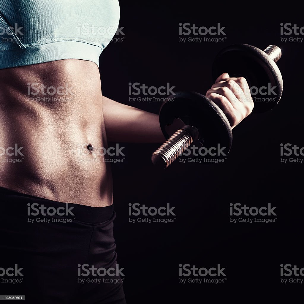 Strong athletic woman stock photo
