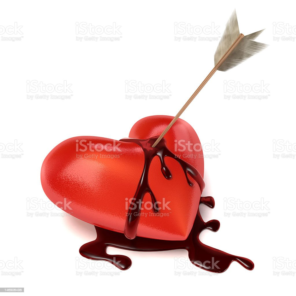 Strong bleeding heart with arrow. royalty-free stock photo