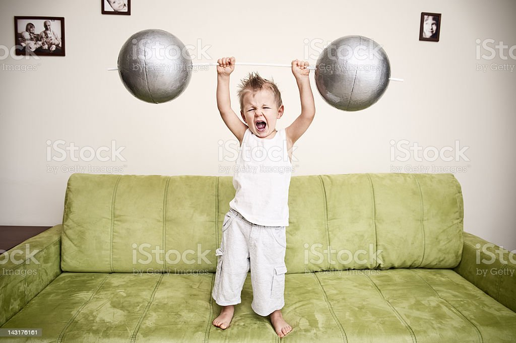 Strong boy stock photo