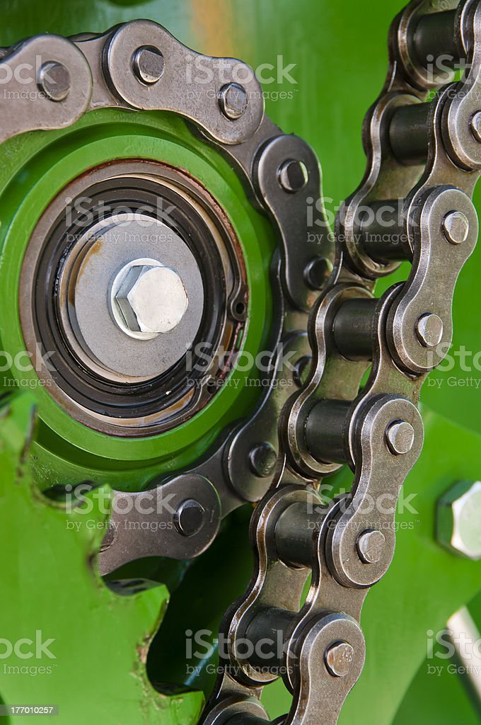 Strong chain of the machine stock photo
