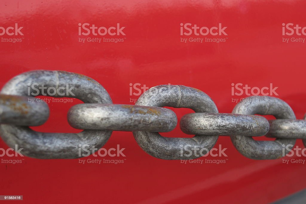 Strong chain on red royalty-free stock photo