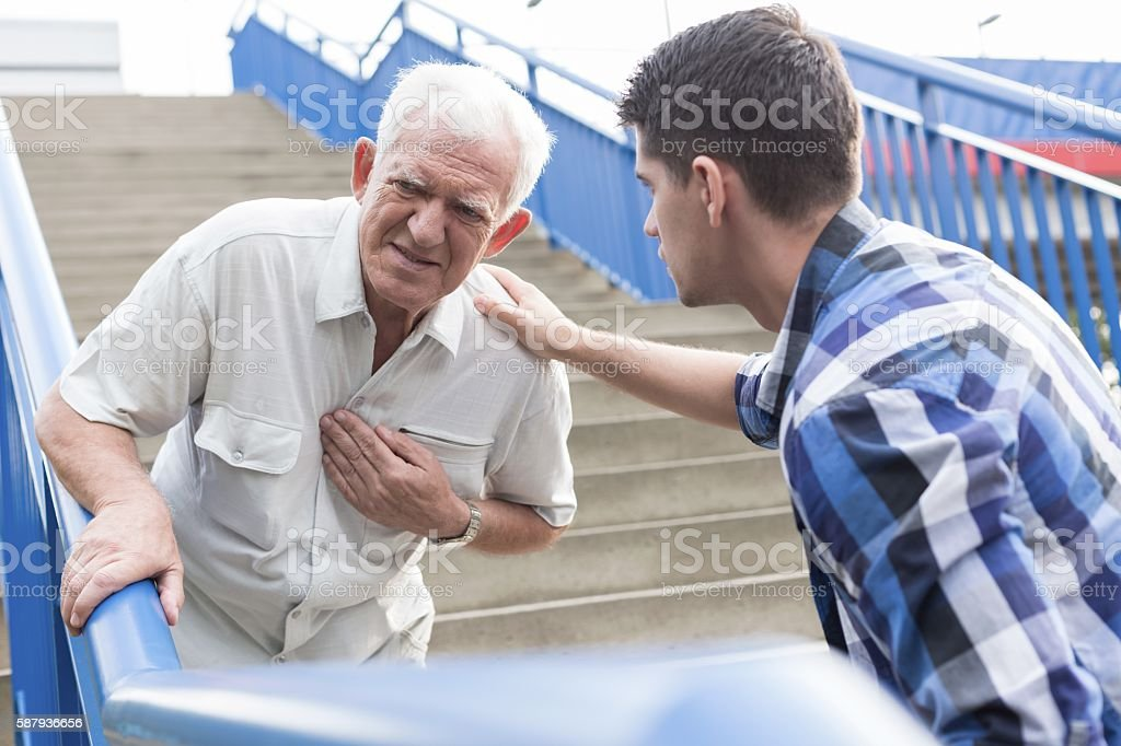 Strong chest pain stock photo