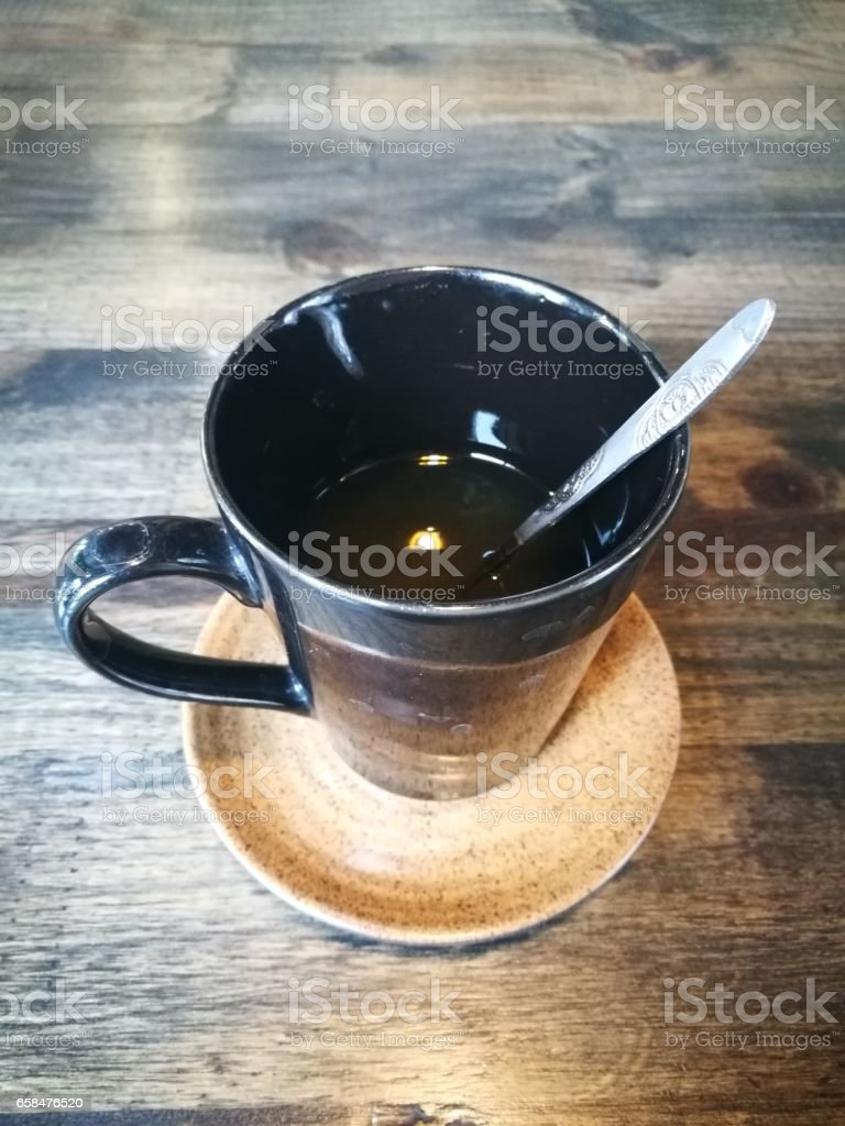 Strong coffee on the wooden background stock photo
