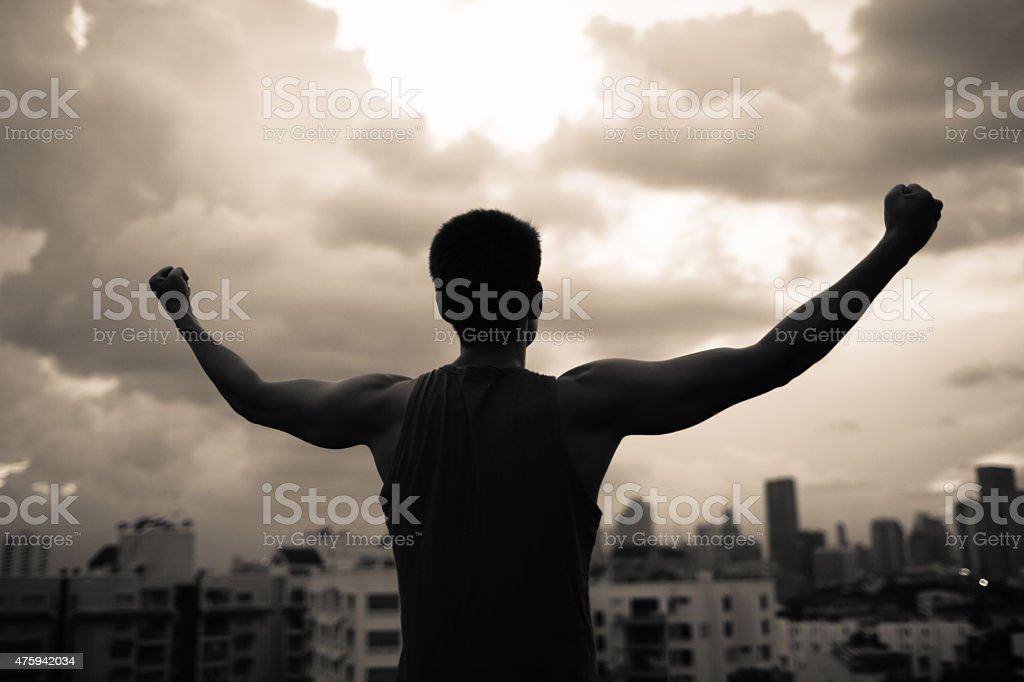 Strong confident men stock photo