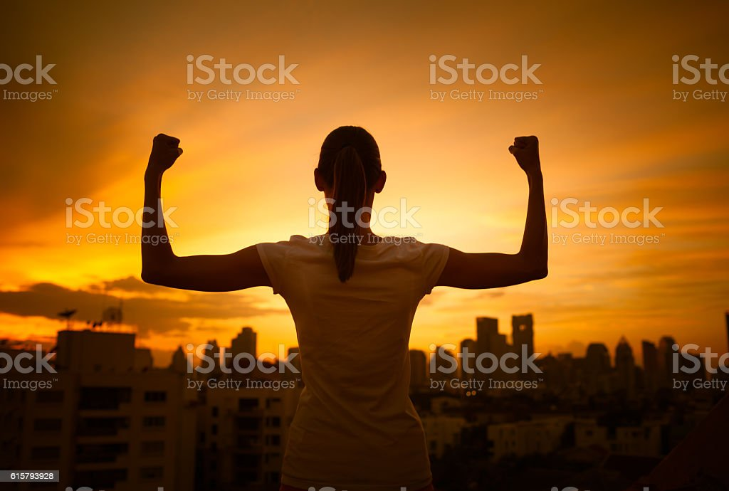 Strong confident women in the city stock photo