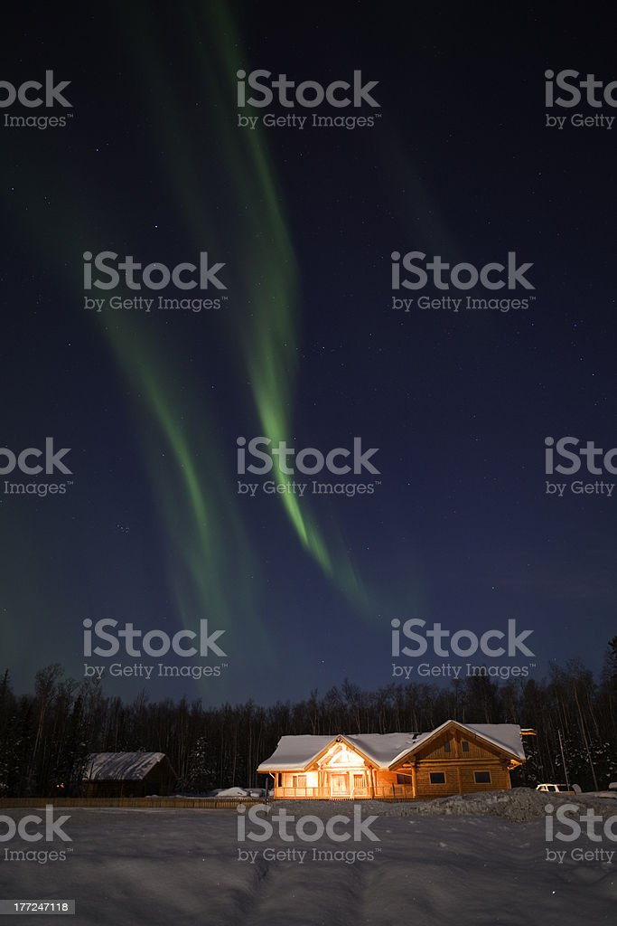 Strong display of northern lights royalty-free stock photo
