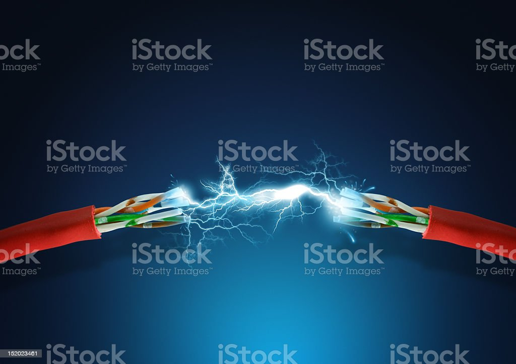 A strong electrical connection between two red wires royalty-free stock photo