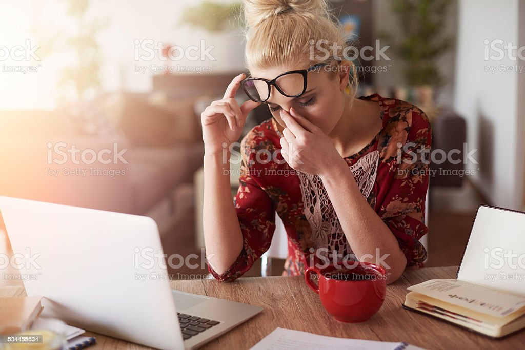 Strong headache is very problematic stock photo