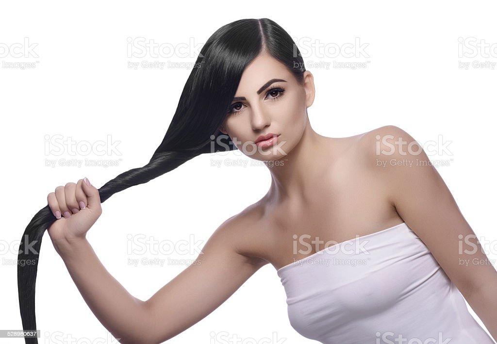strong healthy black hair stock photo