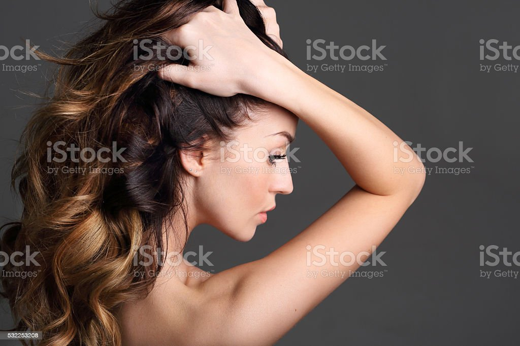 Strong healthy hair. stock photo