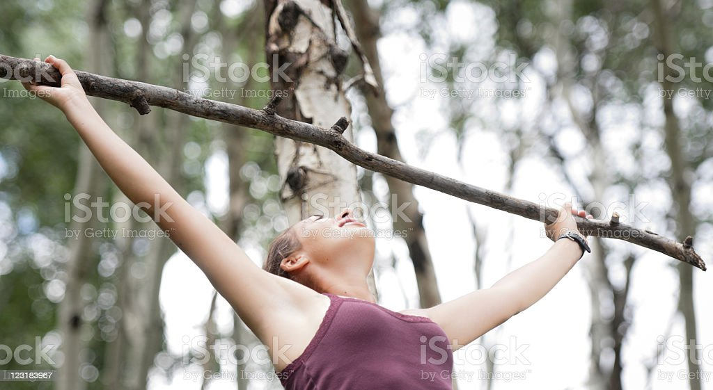 Strong healthy young woman stock photo