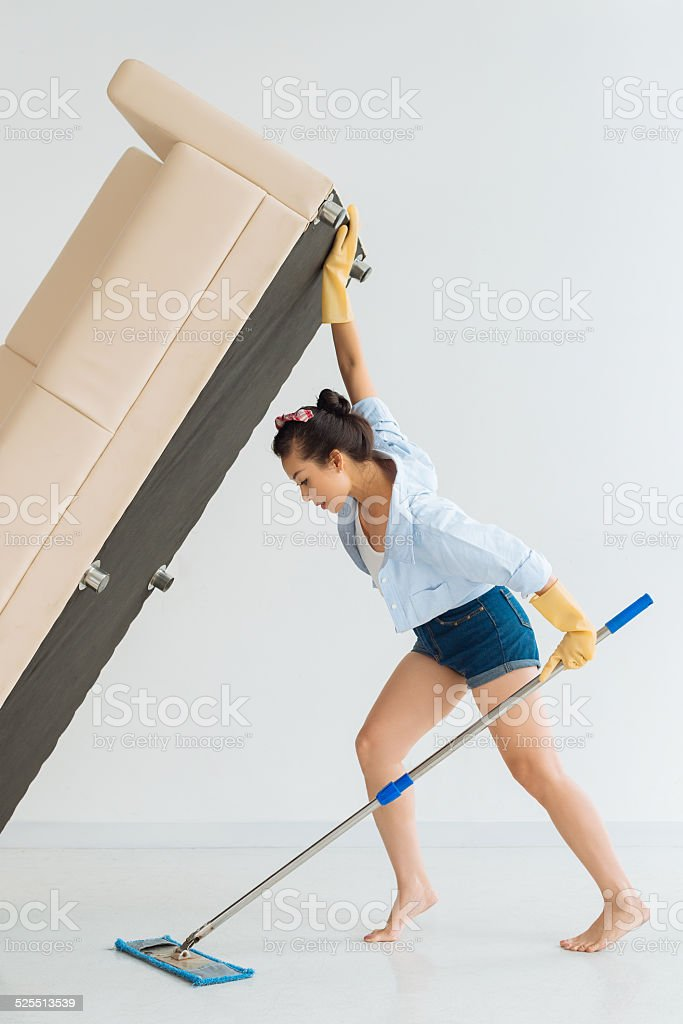 Strong housewife stock photo