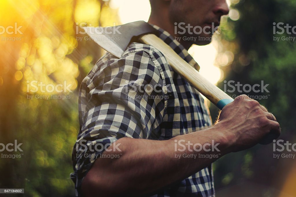 Strong lumberjack in the woods with an ax stock photo