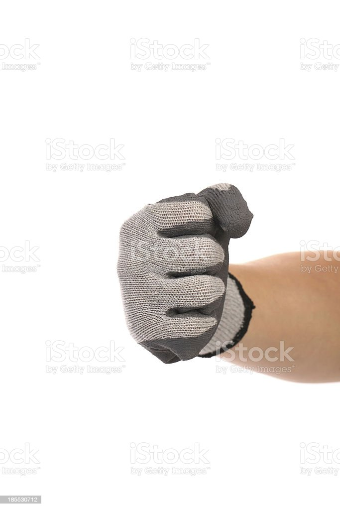 Strong male worker hand glove clenching fist royalty-free stock photo
