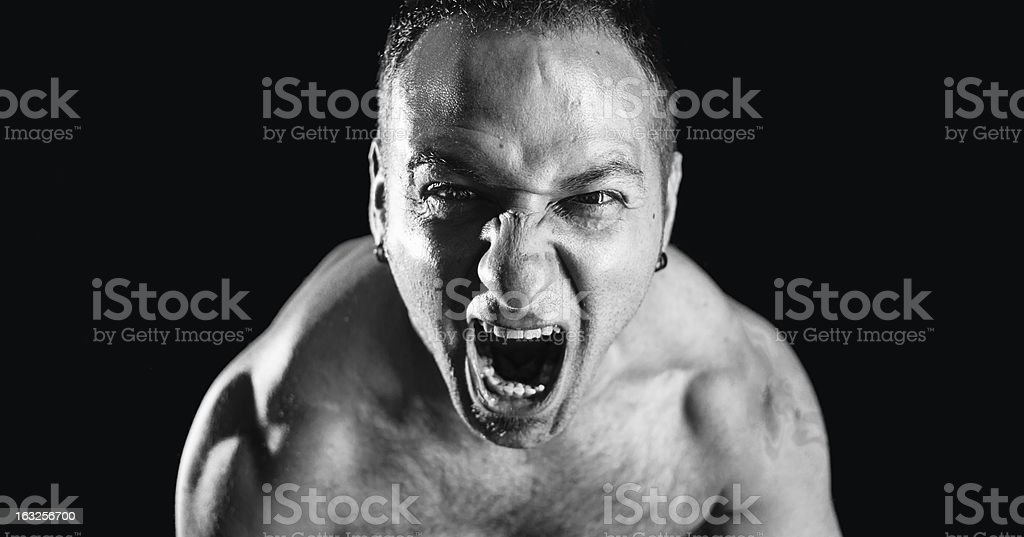 strong man screaming royalty-free stock photo