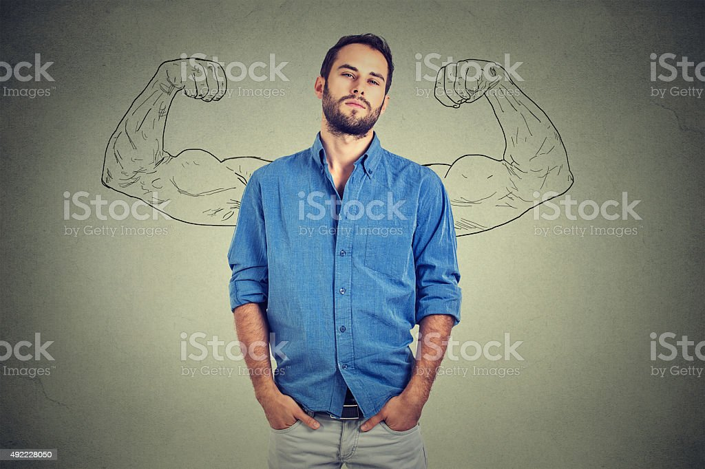 Strong man, self confident young entrepreneur stock photo