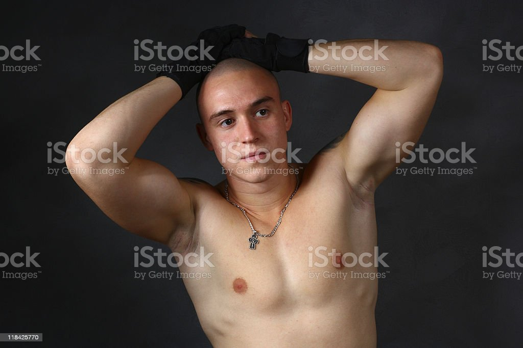 strong man with a bare-chested royalty-free stock photo