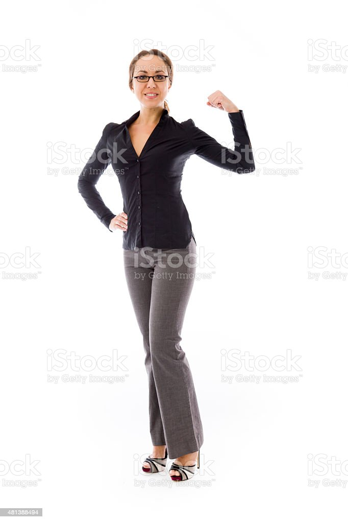 strong model isolated with arm curl stock photo