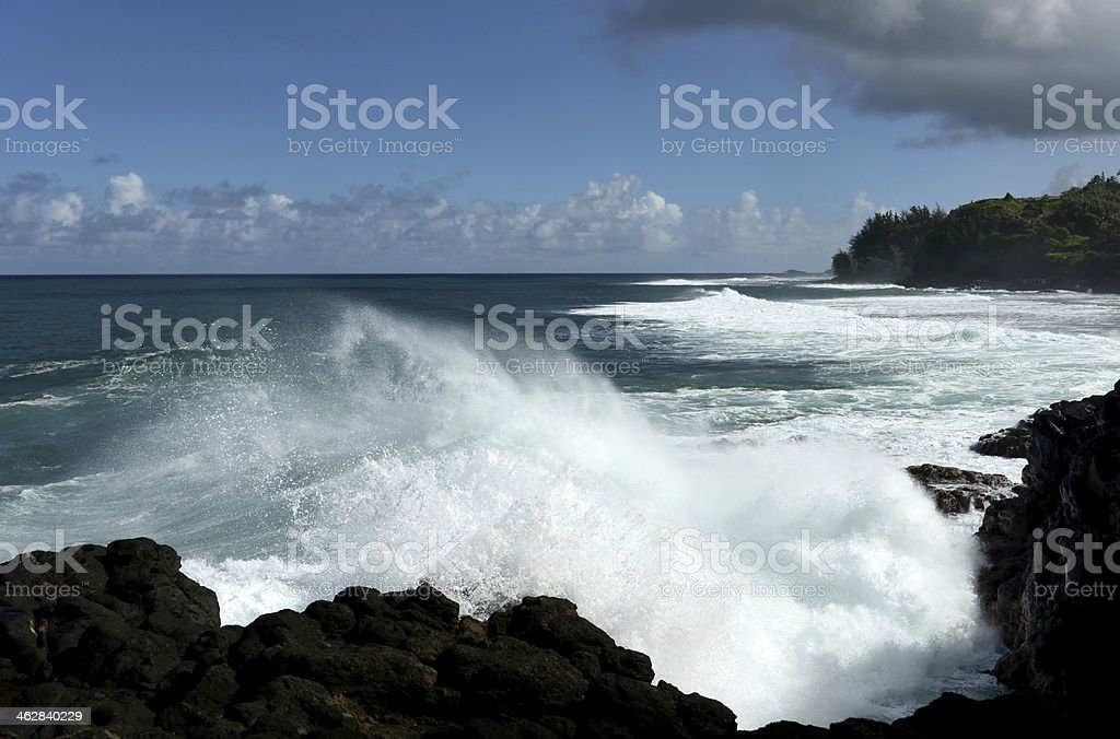 Strong Rip Currents at Kauai royalty-free stock photo
