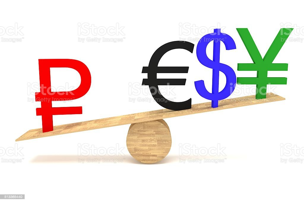 Strong Ruble: currencies on a wooden seesaw stock photo