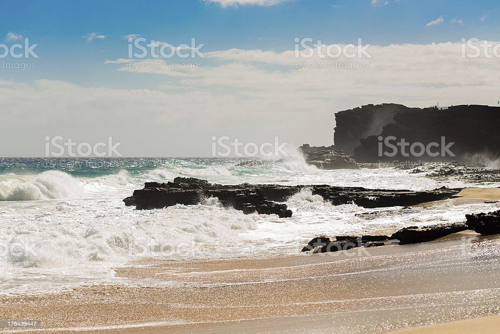 Strong sea wave hit the beach royalty-free stock photo