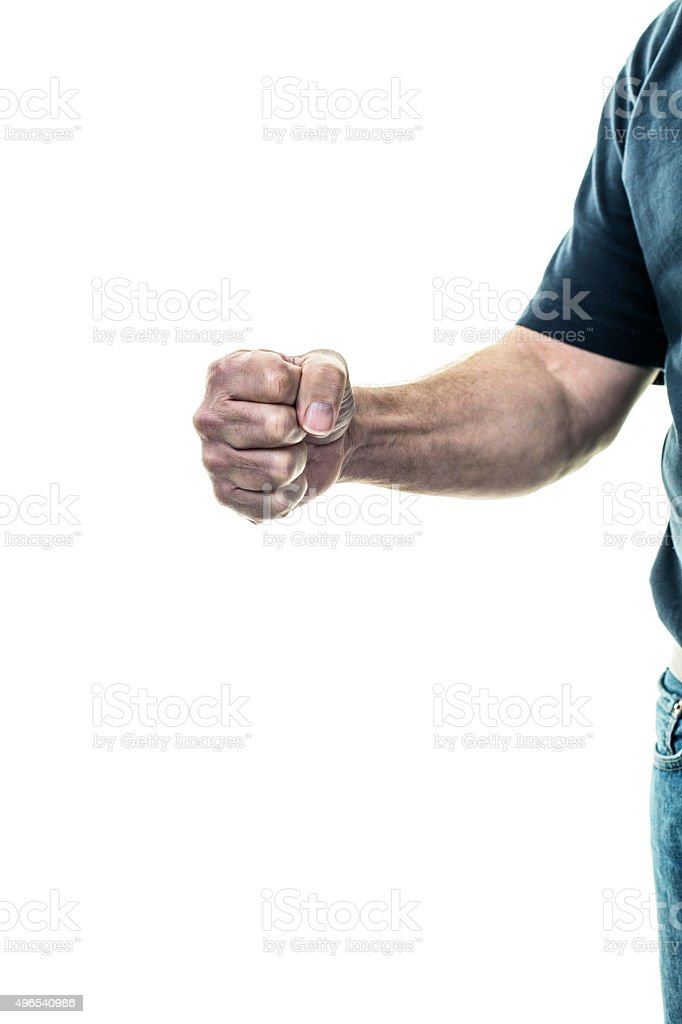 Strong Senior Adult Man Punching Clenched Fist stock photo