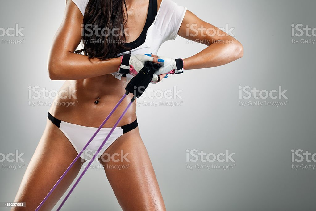 Strong sexy body with elastic band stock photo