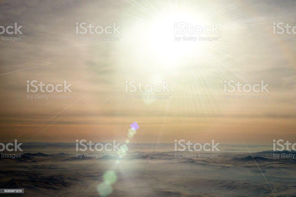 Strong Sun Over Mongolia stock photo