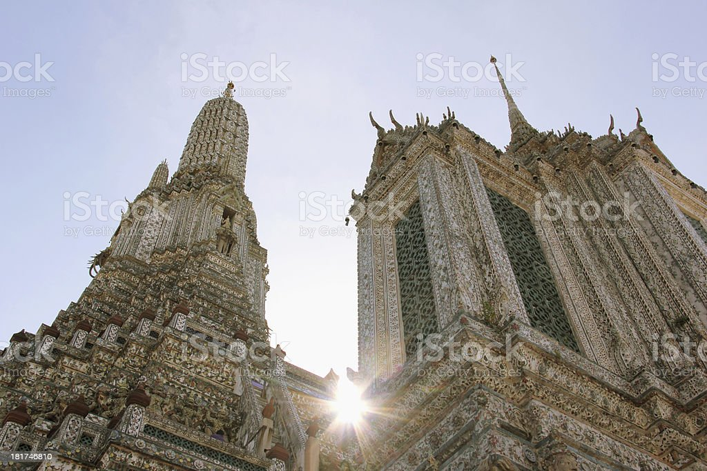 strong sunlight at The Temple of Dawn, Wat Arun royalty-free stock photo