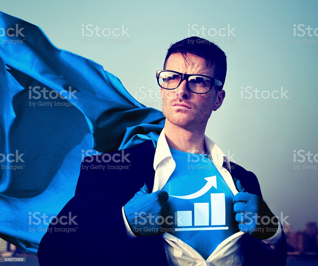 Strong Superhero Businessman Bar Graph Concepts stock photo