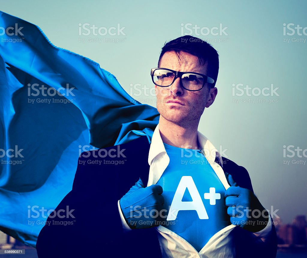 Strong Superhero Businessman Grade A plus Concepts stock photo