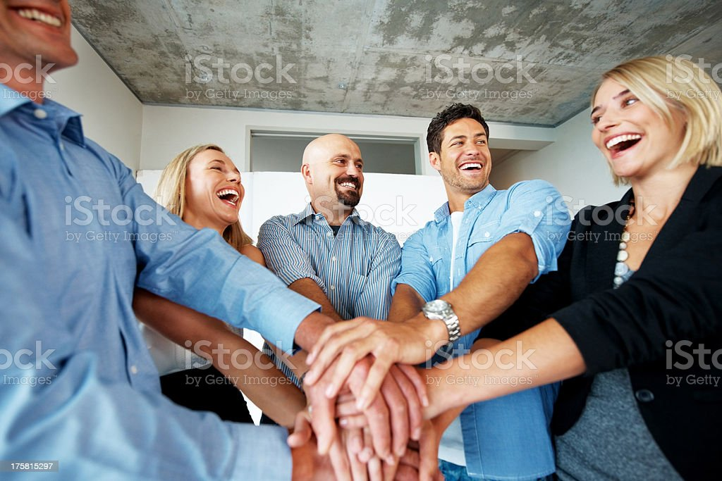 Strong symbol of willingness and determination to reach a shared goal stock photo
