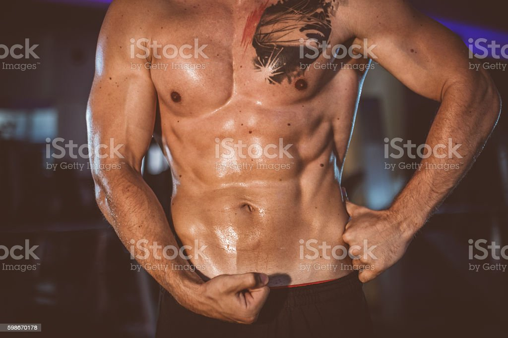 Strong torso and hand muscles stock photo