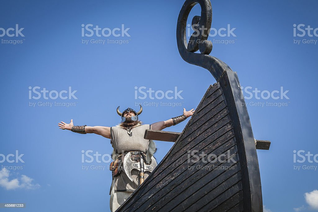 Strong Viking on his ship stock photo