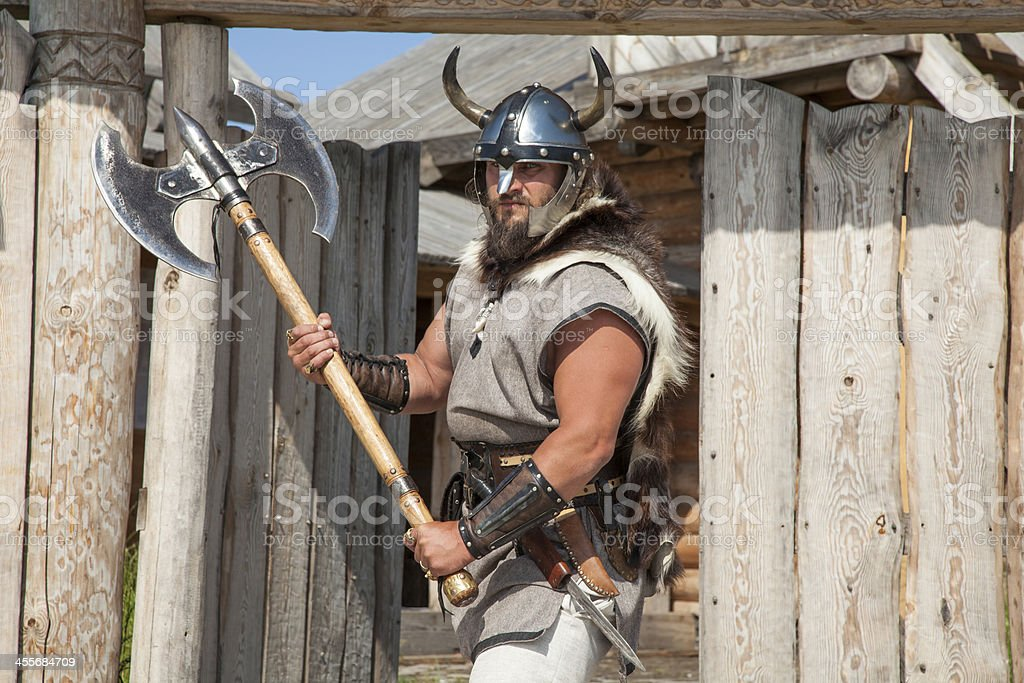 strong Viking outside his home stock photo