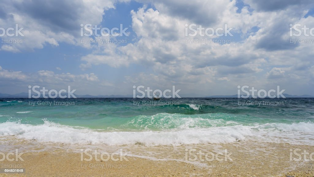 Strong waves in Fortune Island stock photo