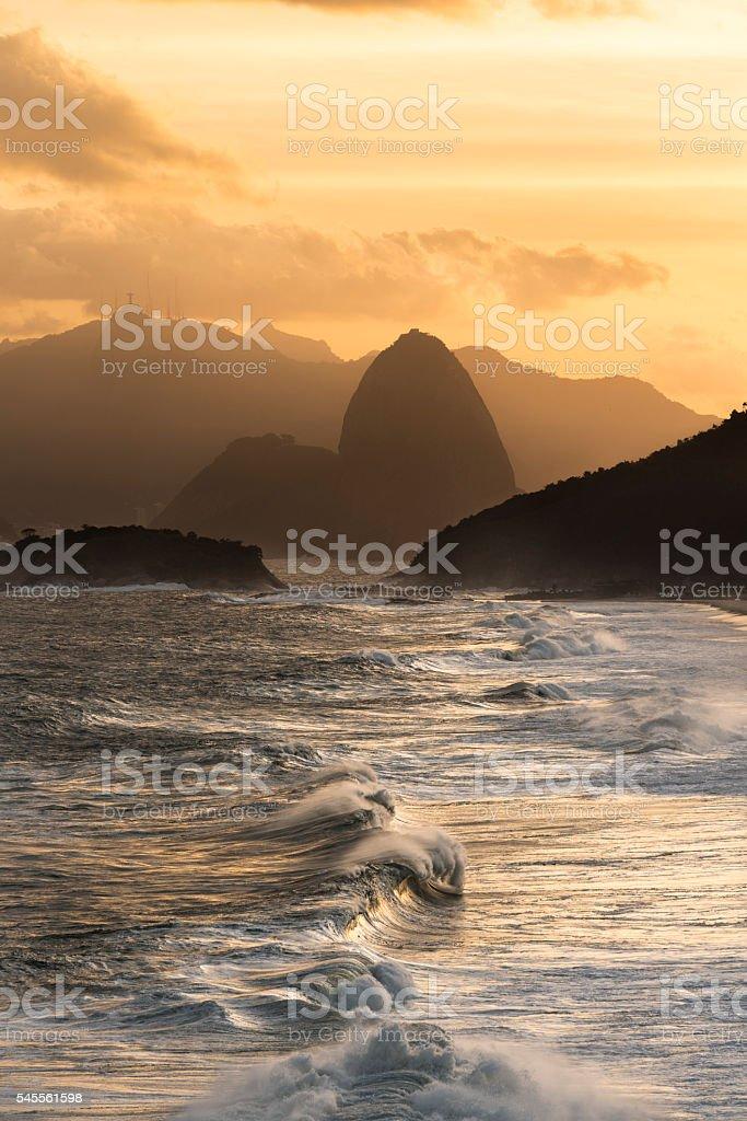 Strong waves Rio de Janeiro Piratininga stock photo