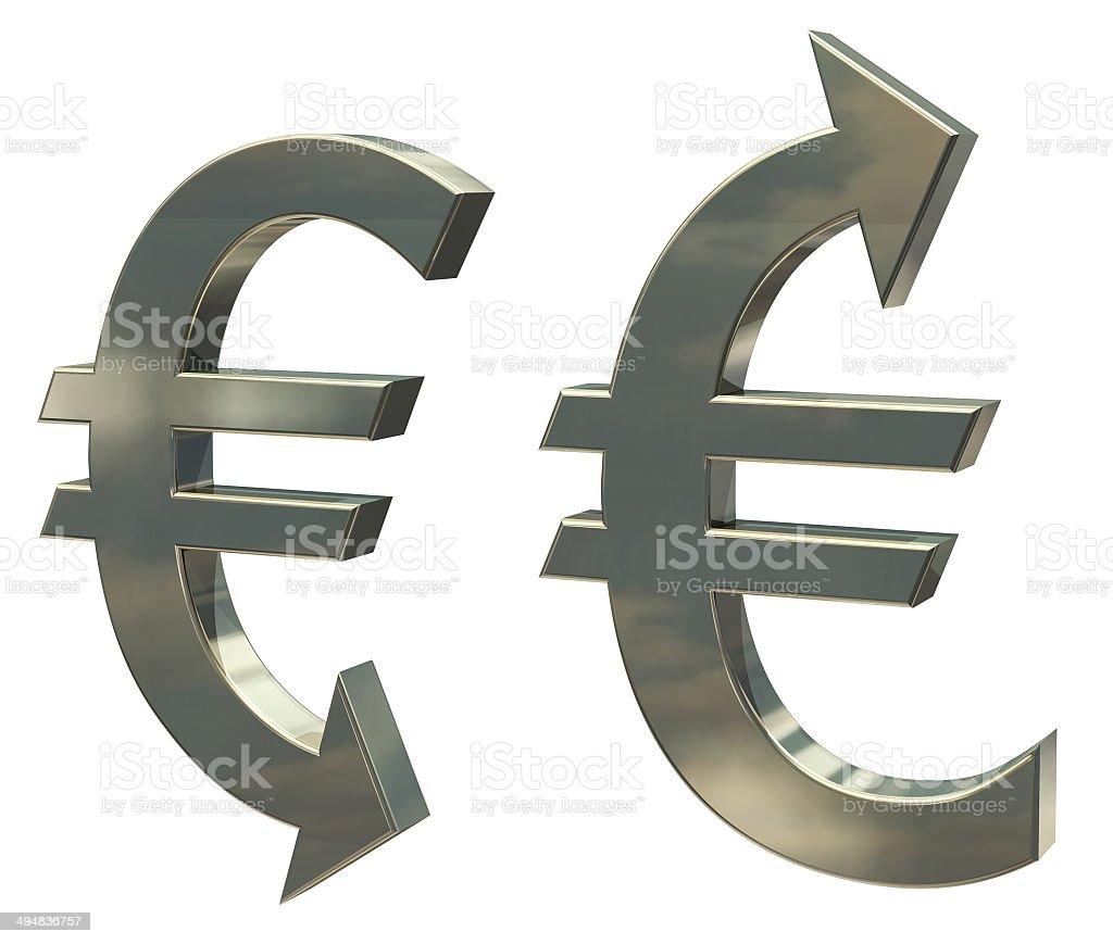 Strong, weak euro, falling or rising stock photo