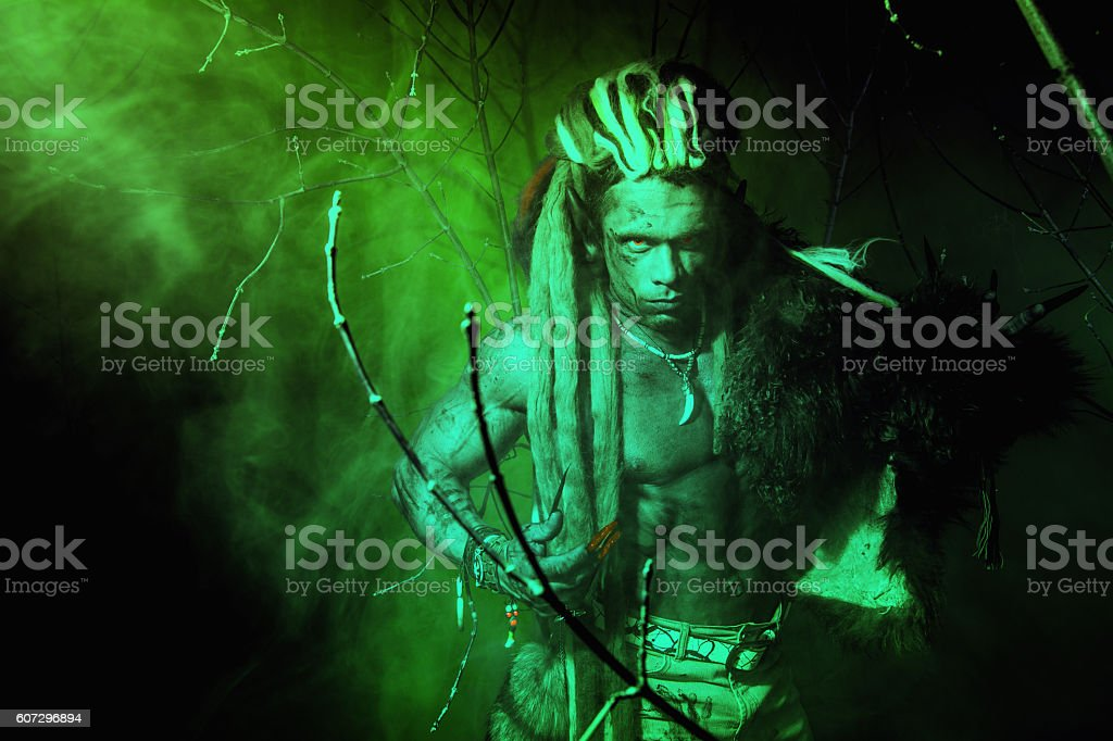 Strong werewolf, demon among the trees in the fog. stock photo
