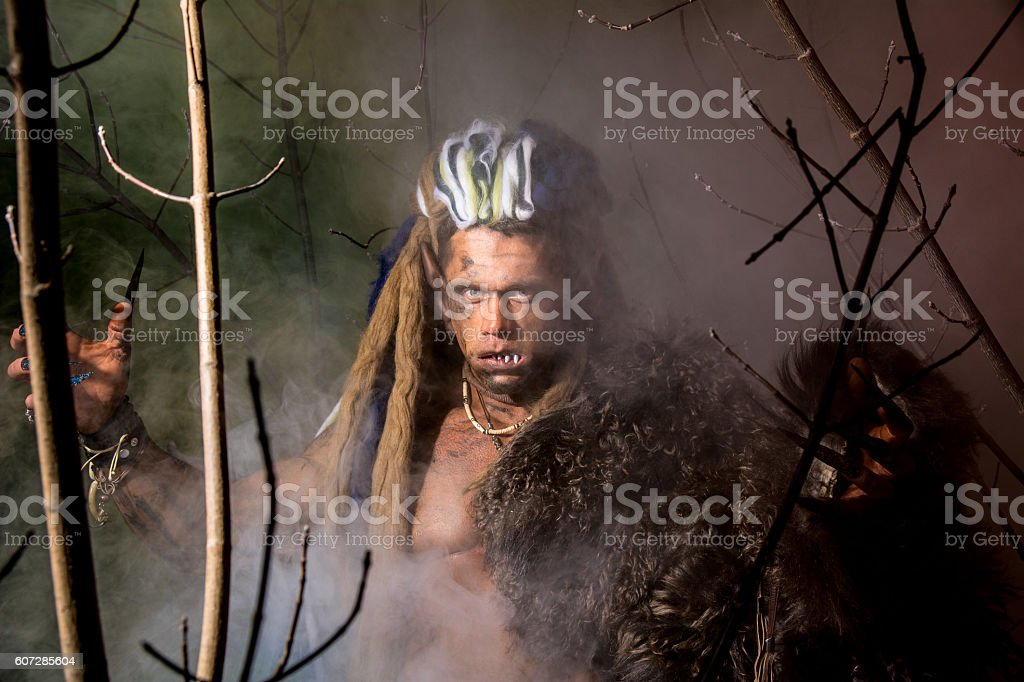 Strong werewolf, demon among the trees. stock photo
