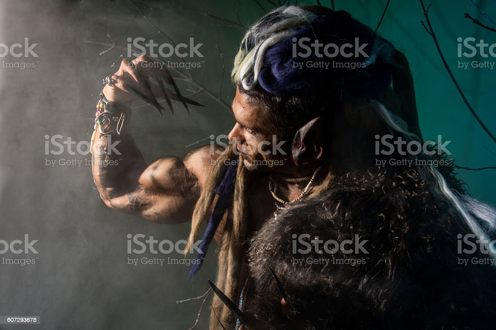 Strong werewolf, demon among the trees stock photo