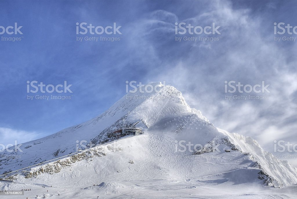 Strong Wind in the Alps stock photo