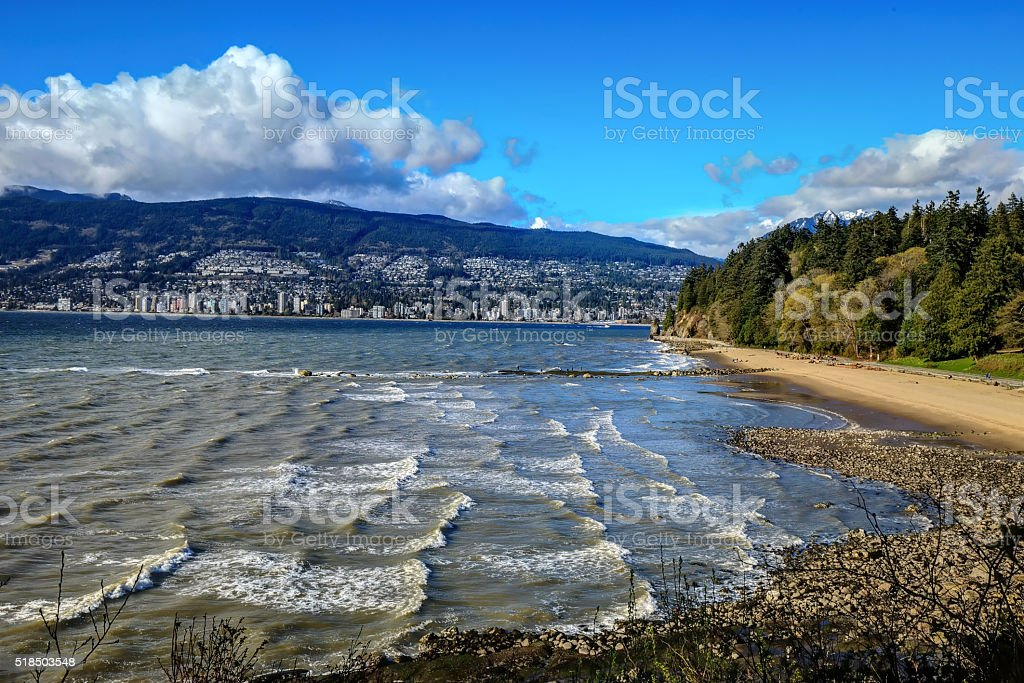 strong wind pushes sea waves stock photo