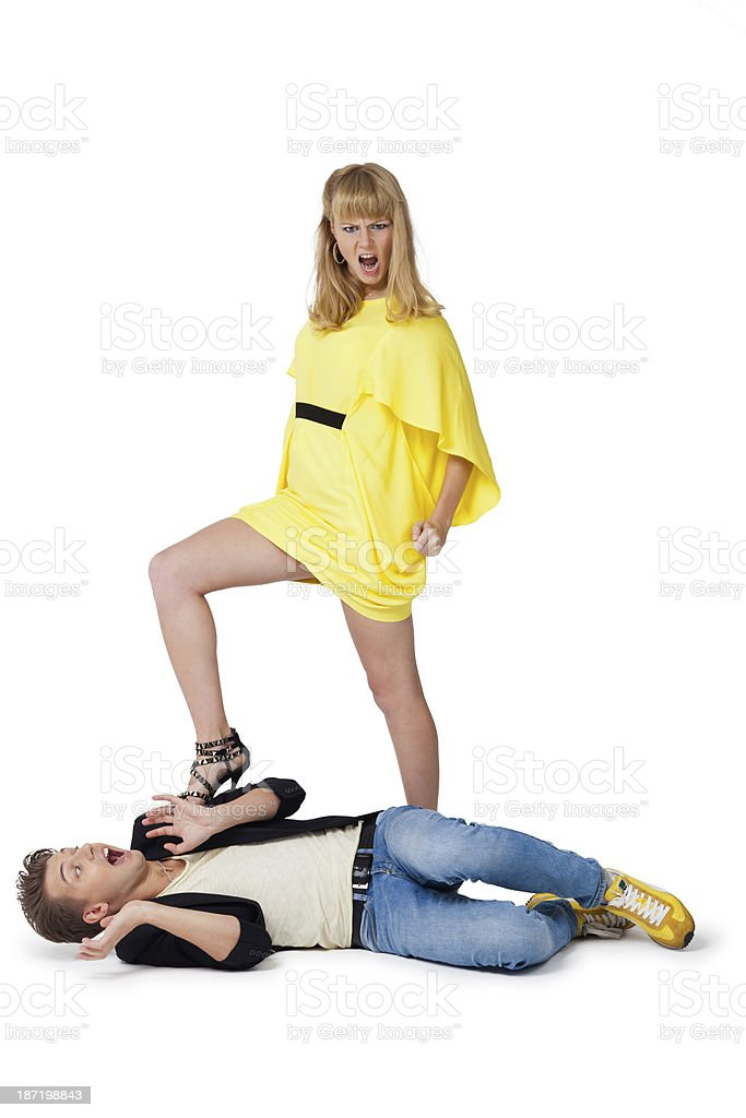 strong woman and weak man stock photo